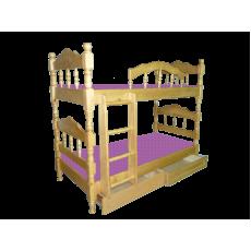 """Кровать деревянная детская """"Точенка"""" двухъярусная с ящиками"""