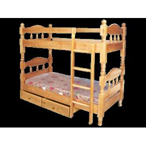 Кровать детская деревянная двухъярусная с ящиками