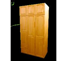 Шкаф деревянный 3-х створчатый с антресолью и ящиками